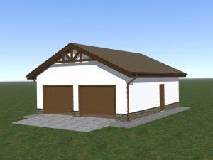 Гараж из газобетонных блоков, с двускатной крышей