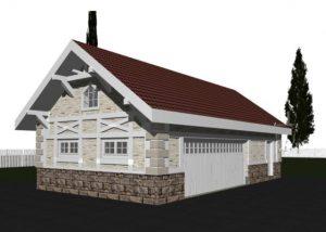 Проект гаража с мансардой, из газобетона