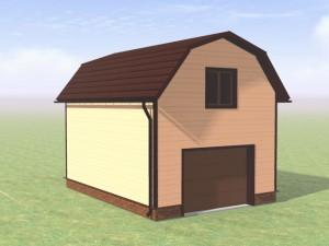 Фото гаража с ломаной крышей - мансарда