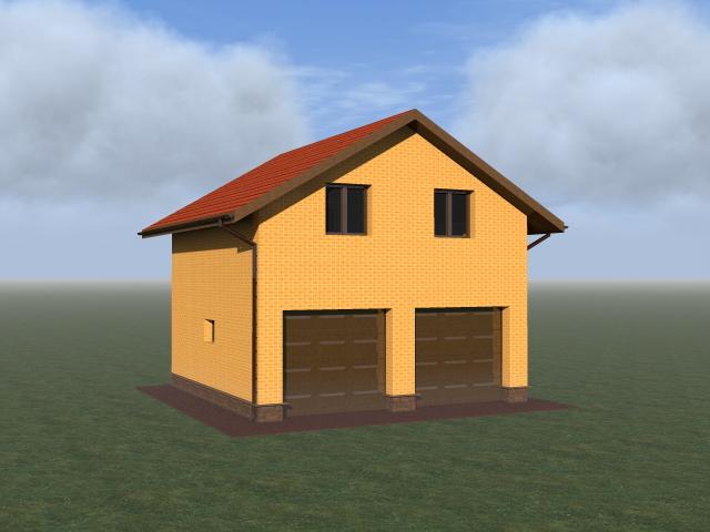Проект экономичного гаража с просторной мансардой