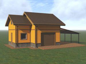 Здание гаража с мансардой, хозяйственными помещениями и навесом из поликарбоната