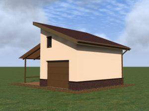 Строительство гаража. Проектом также предусмотрен навес из поликарбоната