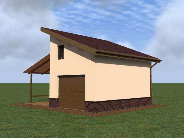Маленький гараж с навесом. Поэтапное строительство.