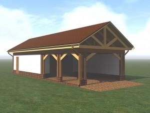 проект гаража с навесом - построено в с.Шишкин Лес