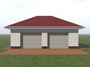 Просторный гараж из газобетона, с вальмовой крышей