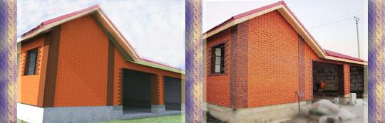 Строительство гаража с облицовкой кирпичом