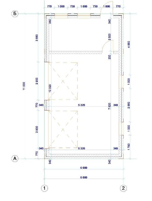 План гаража с хозблоком - чертеж эскизного проекта