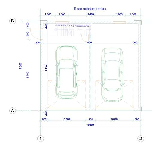План гаража - составляющая комплекта чертежей в проекте