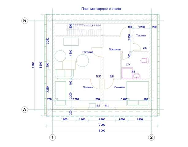 План мансарды в архитектурном проекте гаража