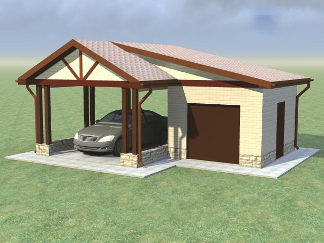 Проектирование и строительство гаражей с навесом - закрытый бокс для квадроцикла