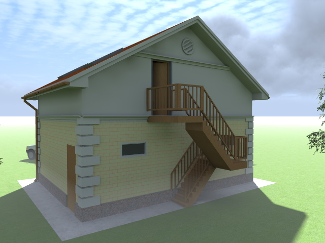 Гараж под деревянным домом