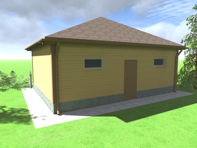 Визуализация гаража - вид сзади. Проект с отделкой