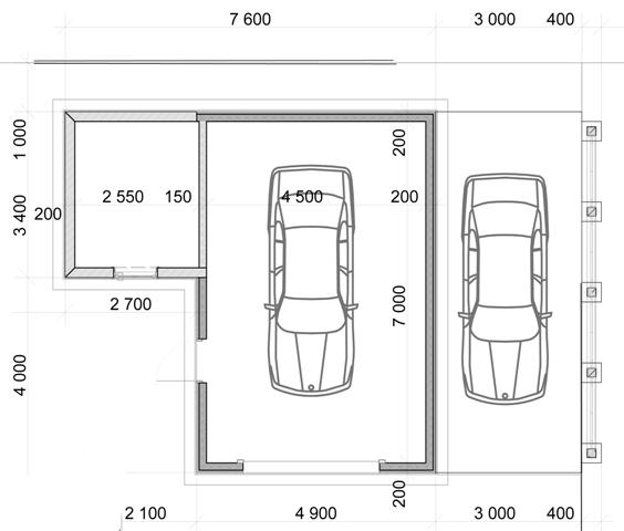 Чертеж гаража с навесом