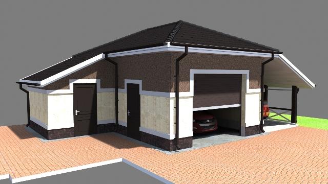 Проект гаража на одну машину, с навесом и хозблоком