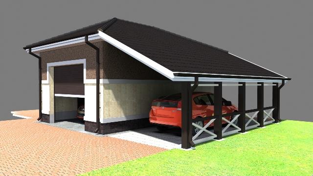 Проект гаража с навесом в 3д