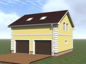 Эскизный проект гаража с мансардой