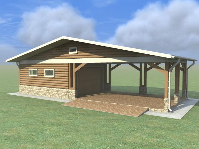 Проект гаража с навесом в трехмерном виде