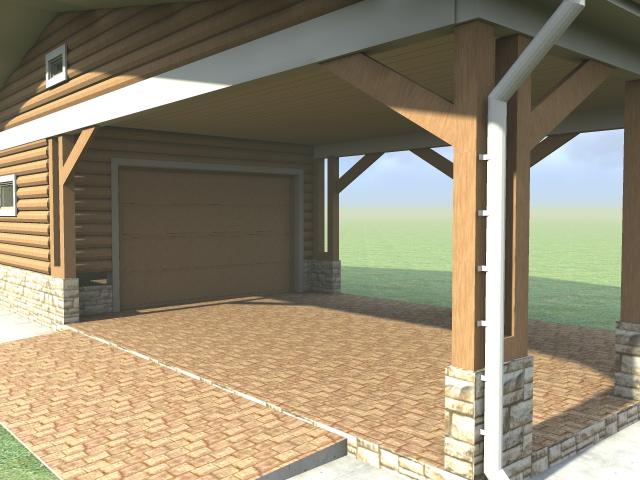 Проектирование гаража с навесом - 3d-модель