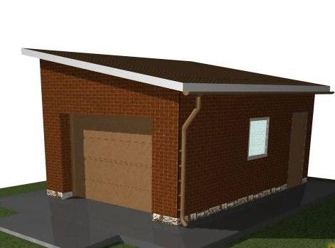 Проект кирпичного гаража с односкатной крышей