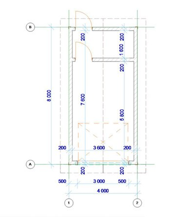 План гаража на 1 машину - чертеж с размерами