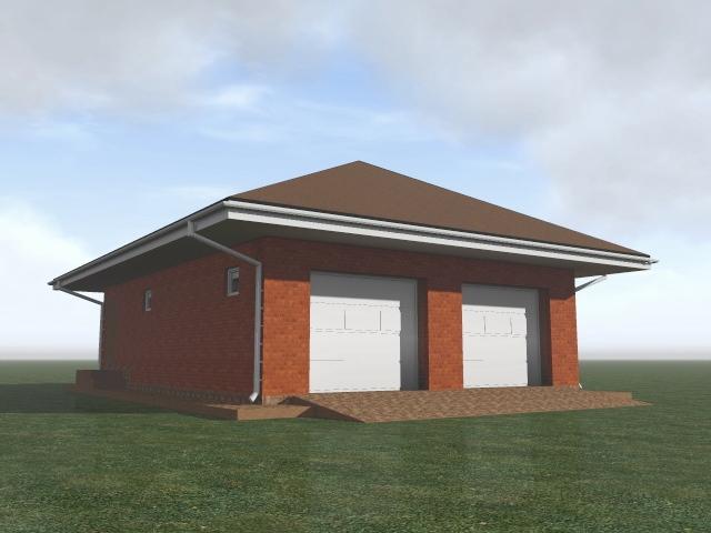 Строительство гаража на две машины, с вальмовой крышей