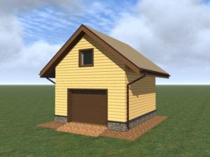 Маленький гараж с мансардой