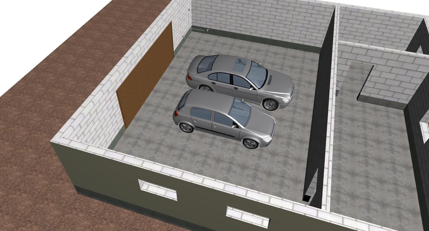 модель гаража с автомобилями для определения размеров в проекте
